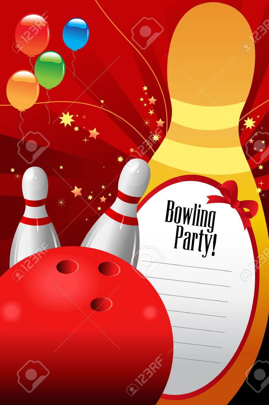 une illustration de vecteur de modele d invitation de partie de bowling