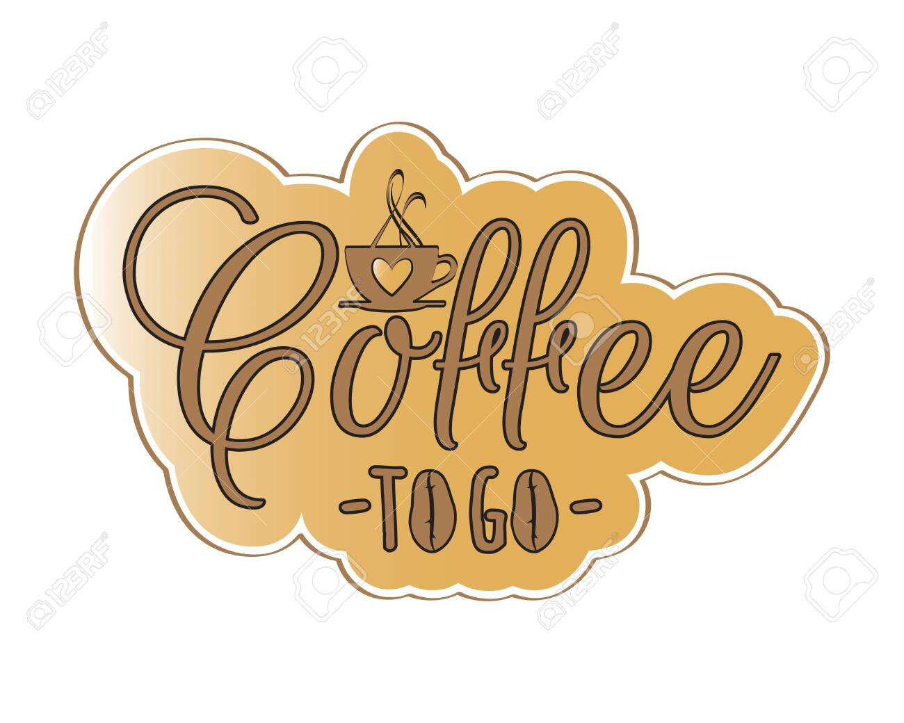 coffee to go vector wording design lettering pop art sticker