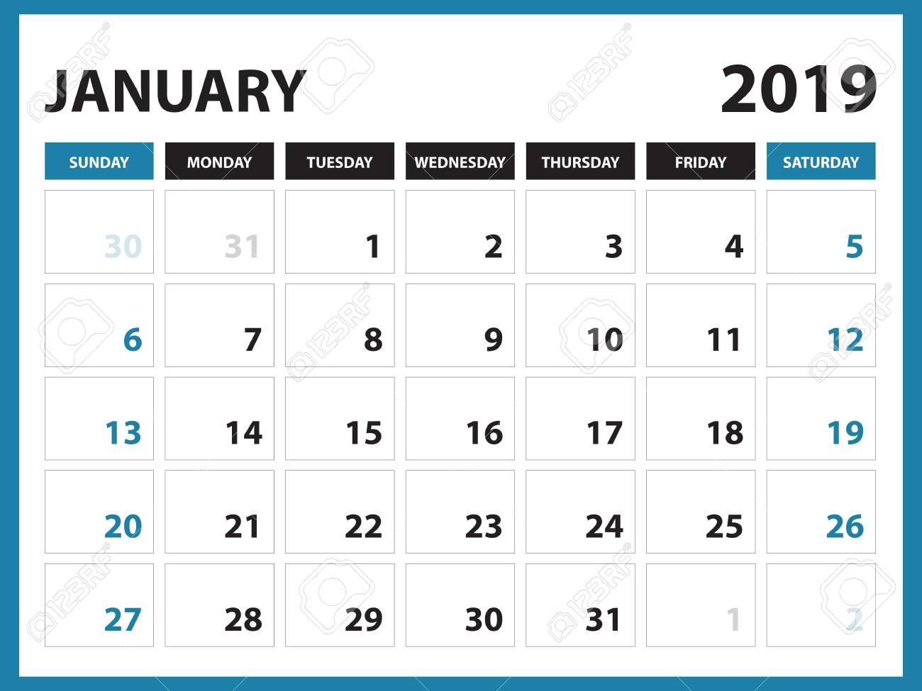 Desk Calendar For January 2019 Template Printable Calendar