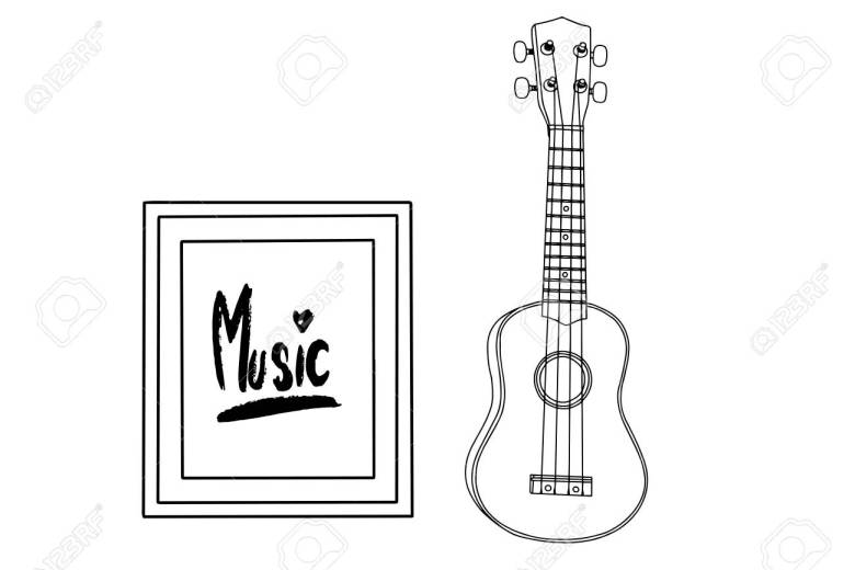 a ukulele realistic cartoon drawing. musical instruments design