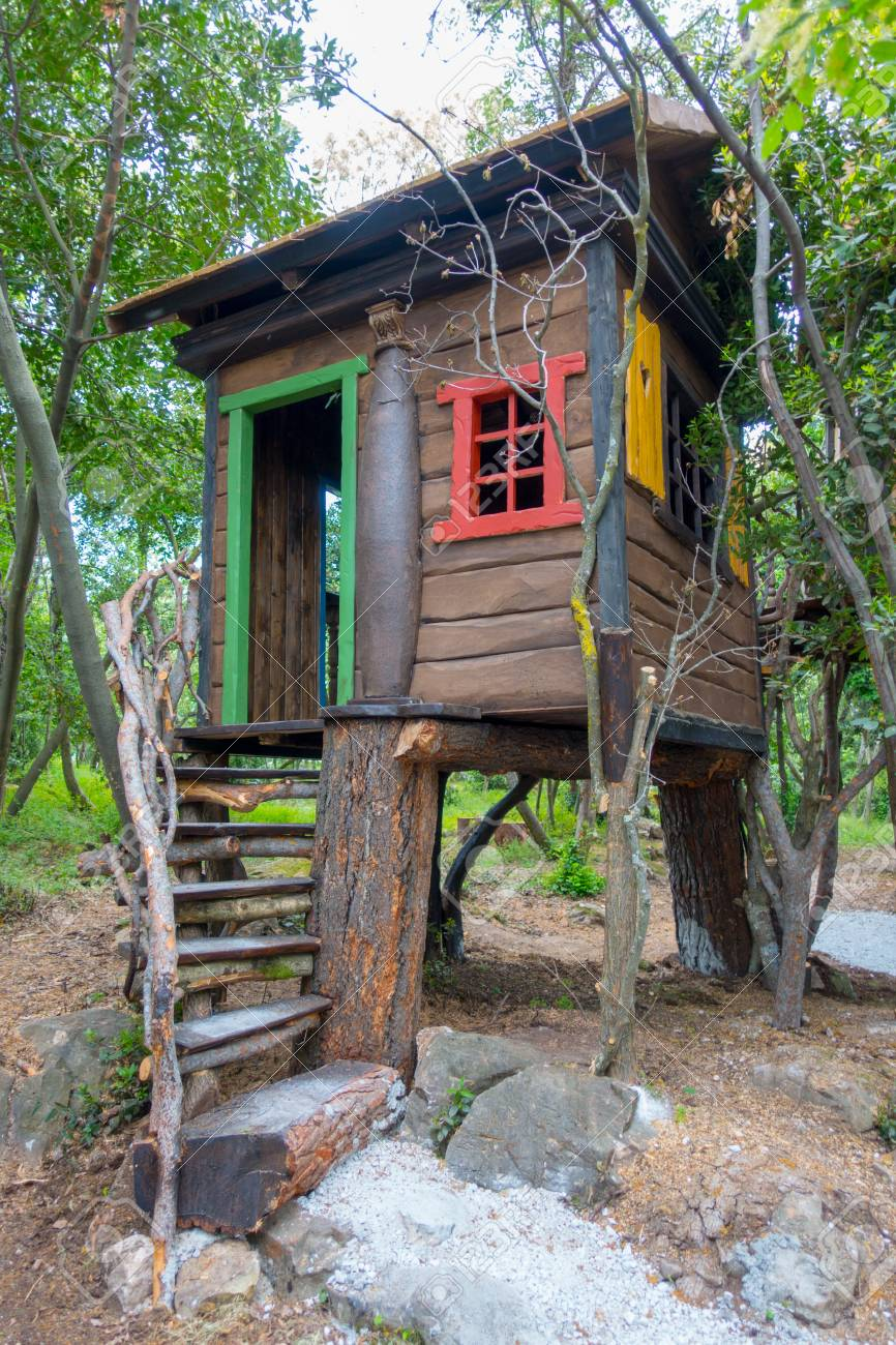Fantasy Tree House For Children Playing Outdoors In The Garden Stock Photo Picture And Royalty Free Image Image 101934529