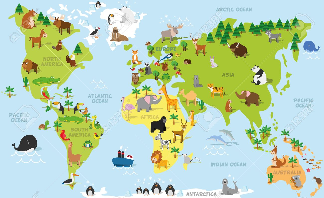 Funny Cartoon World Map With Traditional Animals Of All The Continents Royalty Free Cliparts Vectors And Stock Illustration Image 51545406