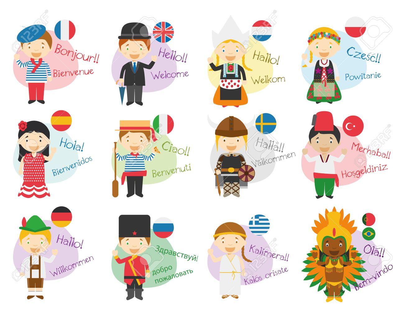 vector illustration de personnages de dessins animes dire bonjour et bienvenue dans 12 langues differentes ingl s francais espagnol allemand
