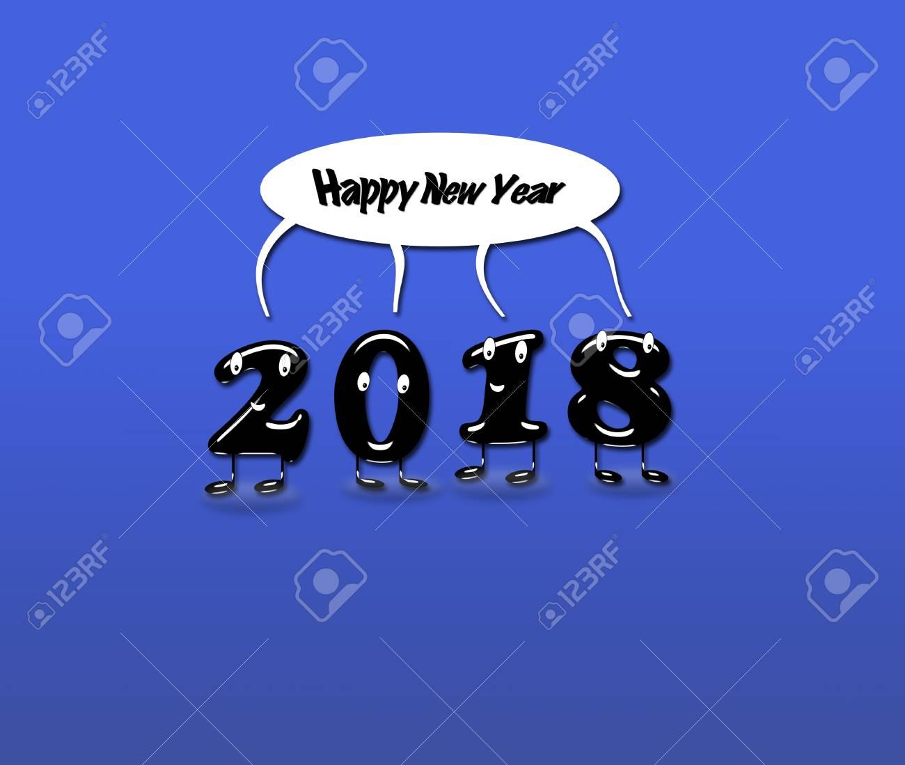 Cartoon Of 2018 Numerals With Speech Buble With Text Happy New     Cartoon of 2018 numerals with speech buble with text Happy New Year on blue  background