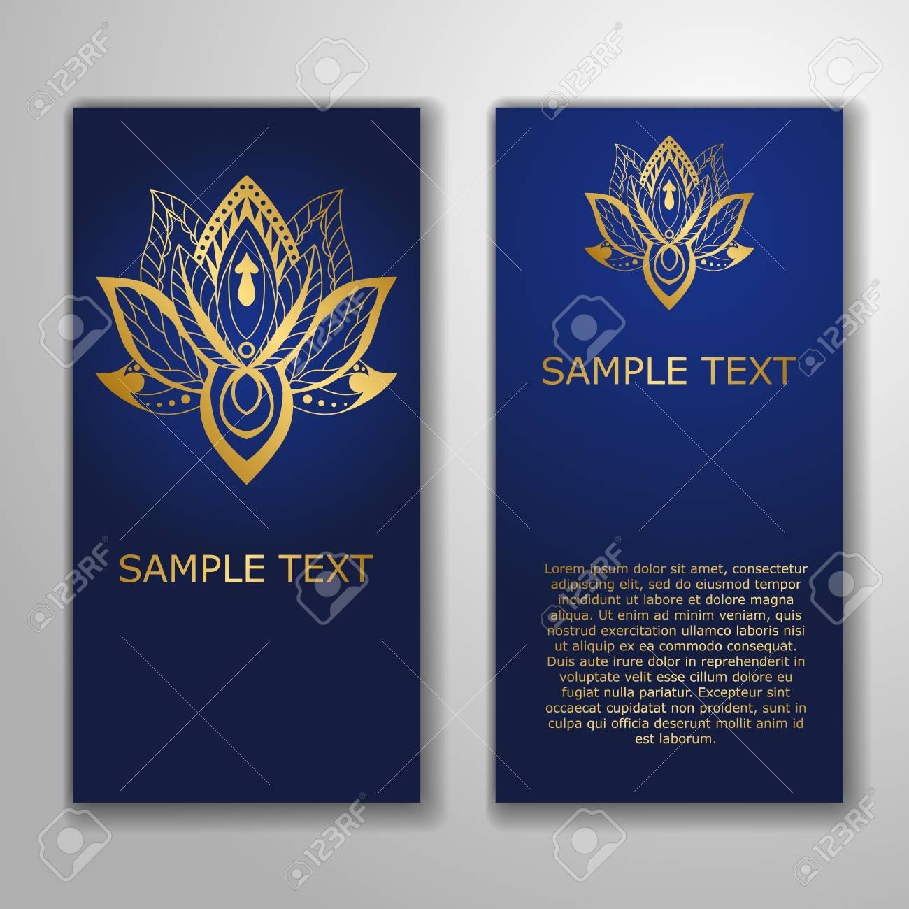 Cards Template For Yoga Studio With Golden Lotuses Yoga Vertical