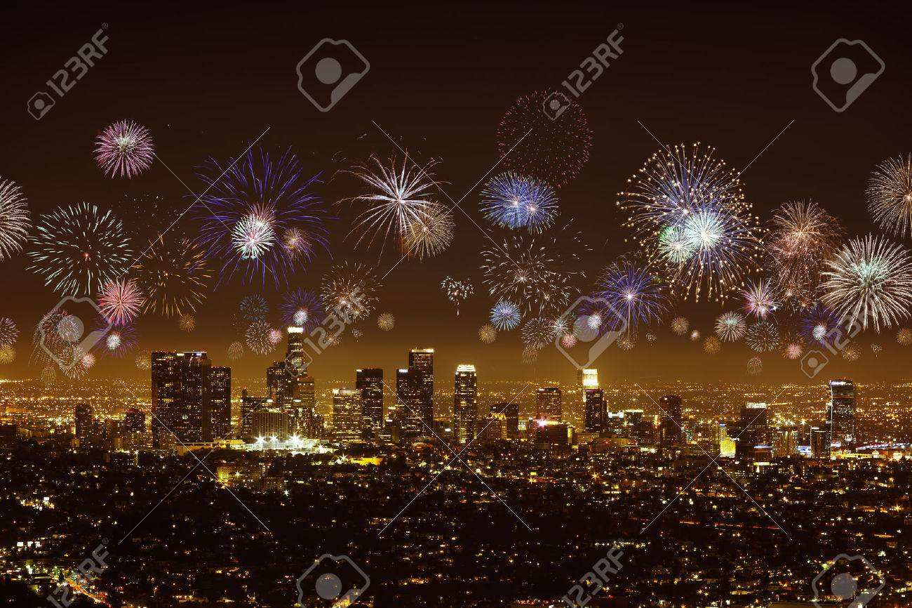 Downtown Los Angeles Cityscape With Flashing Fireworks Celebrating     Downtown Los angeles cityscape with flashing fireworks celebrating New Year  Stock Photo   34439040