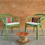Thai Local Cushion On Green Rattan Chairs With Brick Wall Background Stock Photo Picture And Royalty Free Image Image 54098515