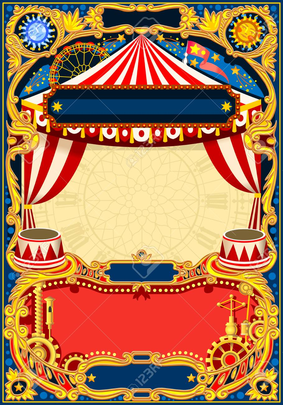 Circus Editable Frame Vintage Template With Circus Tent For Royalty Free Cliparts Vectors And Stock Illustration Image 93855971