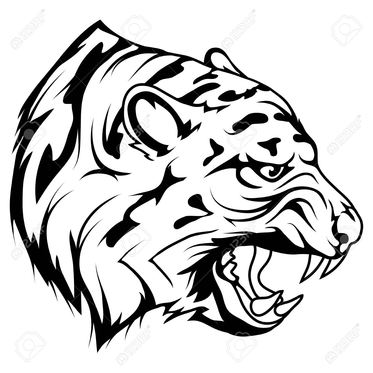 Tiger Head Vector Drawing Tiger Face Drawing Sketch Tiger Head Royalty Free Cliparts Vectors And Stock Illustration Image 124802366
