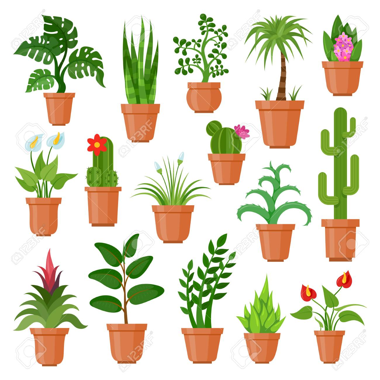 House Pot Plants Green Indoor Houseplants For Home And Office Royalty Free Cliparts Vectors And Stock Illustration Image 93404092