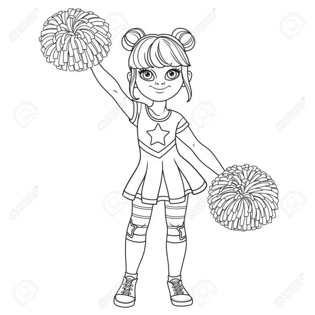 Cute Girl In A Cheerleader Costume With Big Pompons Outlined For