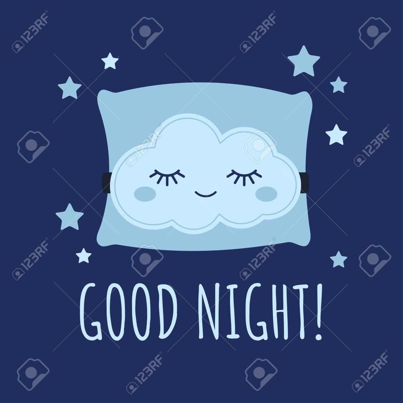 cute cloud sleep mask on pillow and stars around baby print