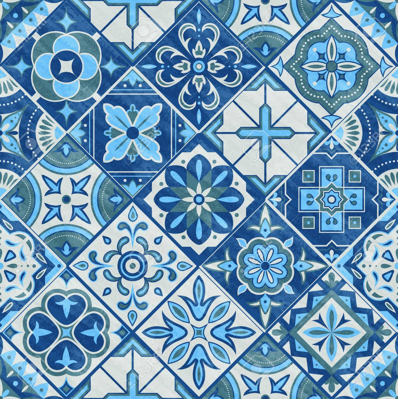 seamless romb patchwork tile in blue gray and green colors