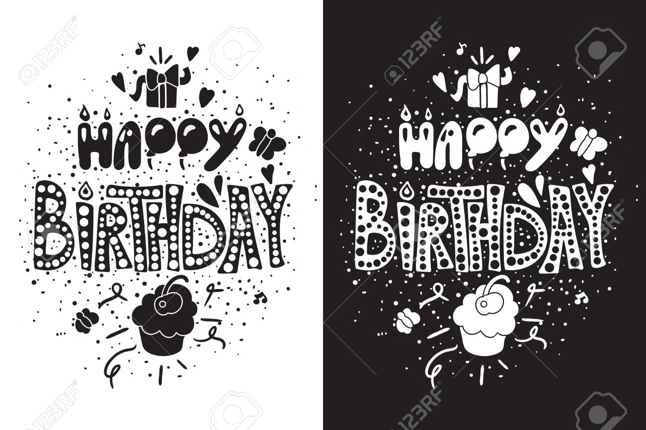 Happy Birthday Greeting Card In Black White Themes With Gift Royalty Free Cliparts Vectors And Stock Illustration Image 109367237