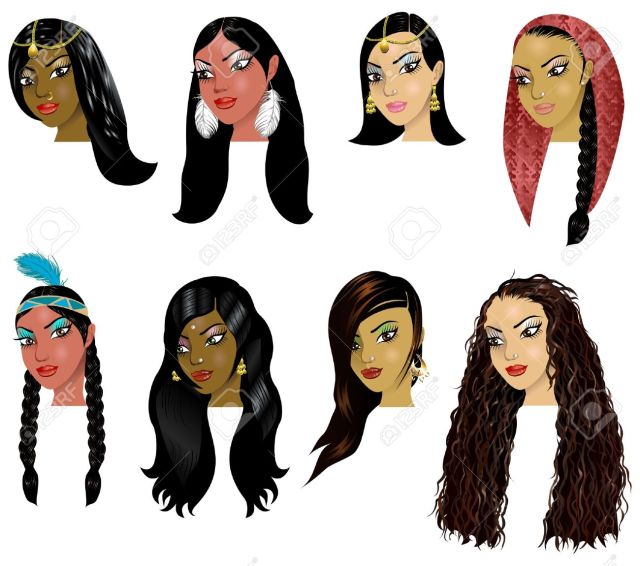 vector illustration of indian, arab and native american women..