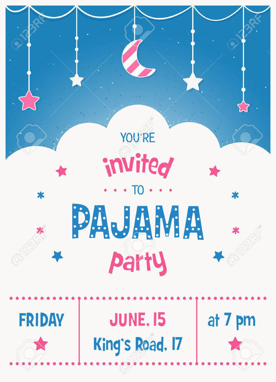 pajama sleepover kids party invitation card or poster template