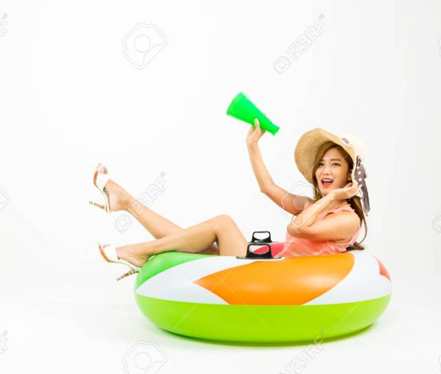 Asian Happy Woman In Swim Wear With Tube Isolated On White Stock Photo
