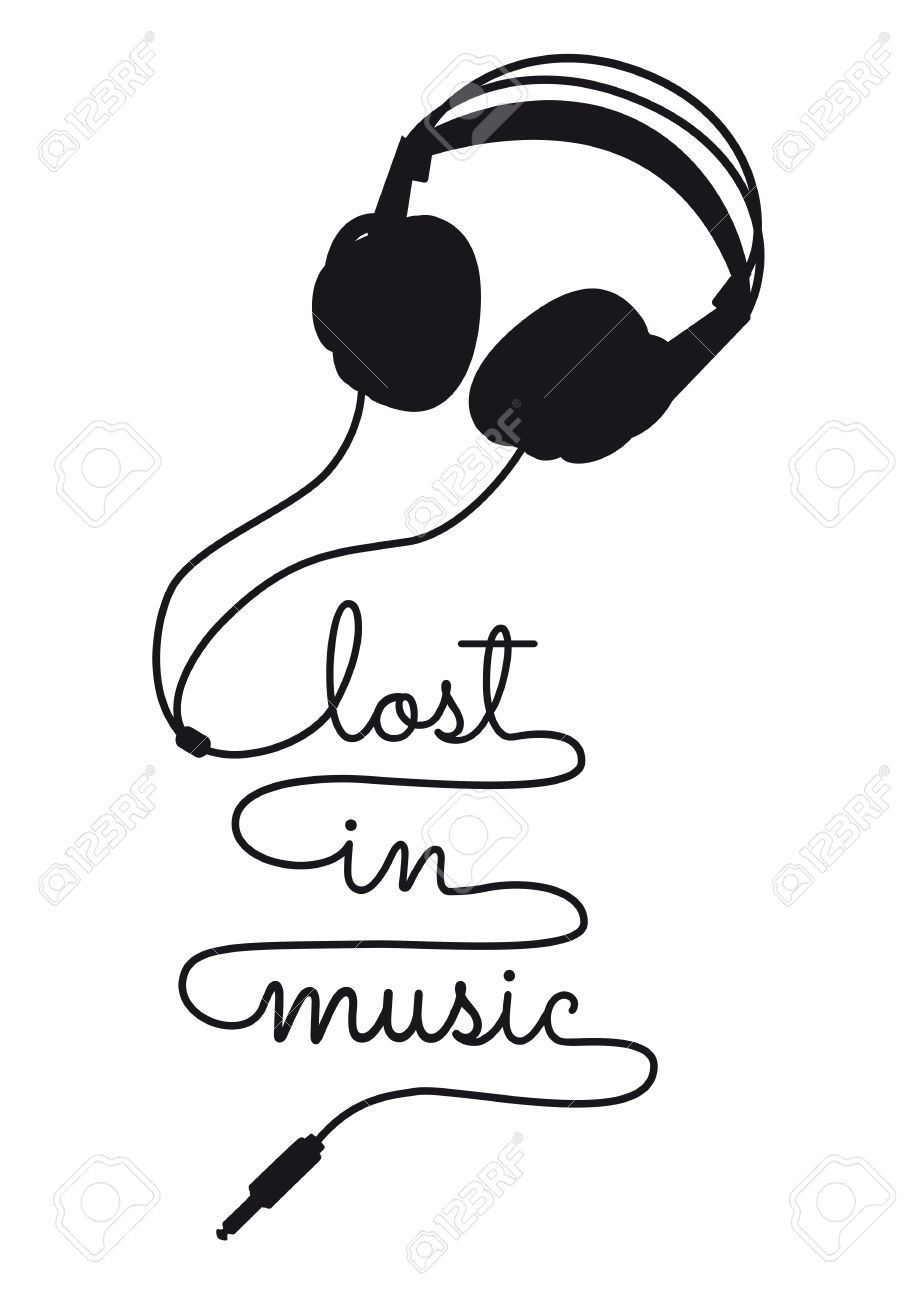 Lost in music headphone cable writing vector illustration
