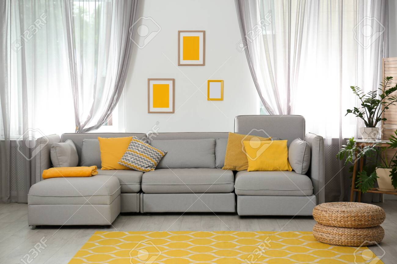 Living Room With Comfortable Sofa And Stylish Decor Idea For