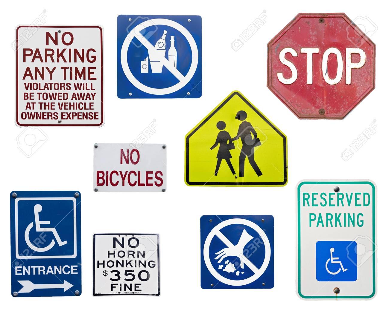 Ensemble De Panneaux De Signalisation Anglais Isole Sur Blanc Banque D Images Et Photos Libres De Droits Image 67672602