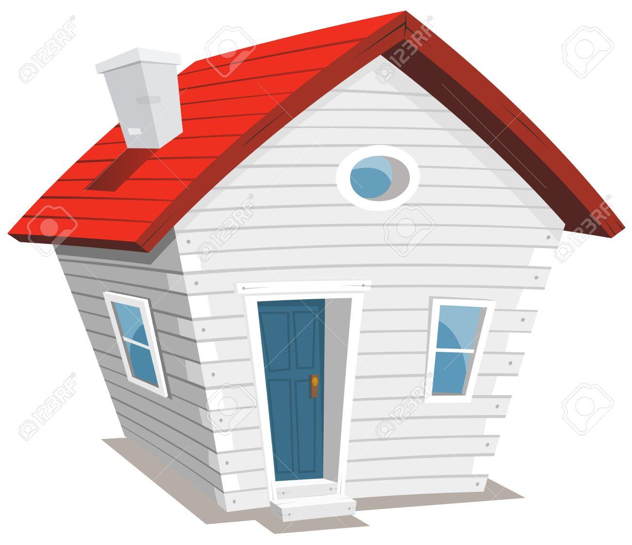 Illustration D Un Dessin Anime Blanc Petite Maison En Bois Drole Avec Cheminee Clip Art Libres De Droits Vecteurs Et Illustration Image 21998304