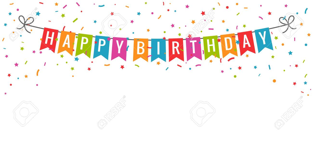 Happy Birthday Banner Birthday Party Flags With Confetti On Royalty Free Cliparts Vectors And Stock Illustration Image 114437761