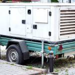 Backup Power Generator Mounted On A Car Trailer On Wheels Standing Stock Photo Picture And Royalty Free Image Image 114114834