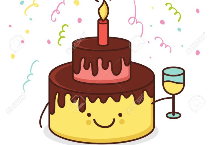 Cute Cartoon Smiling Cake With Glass Of Champagne Vector