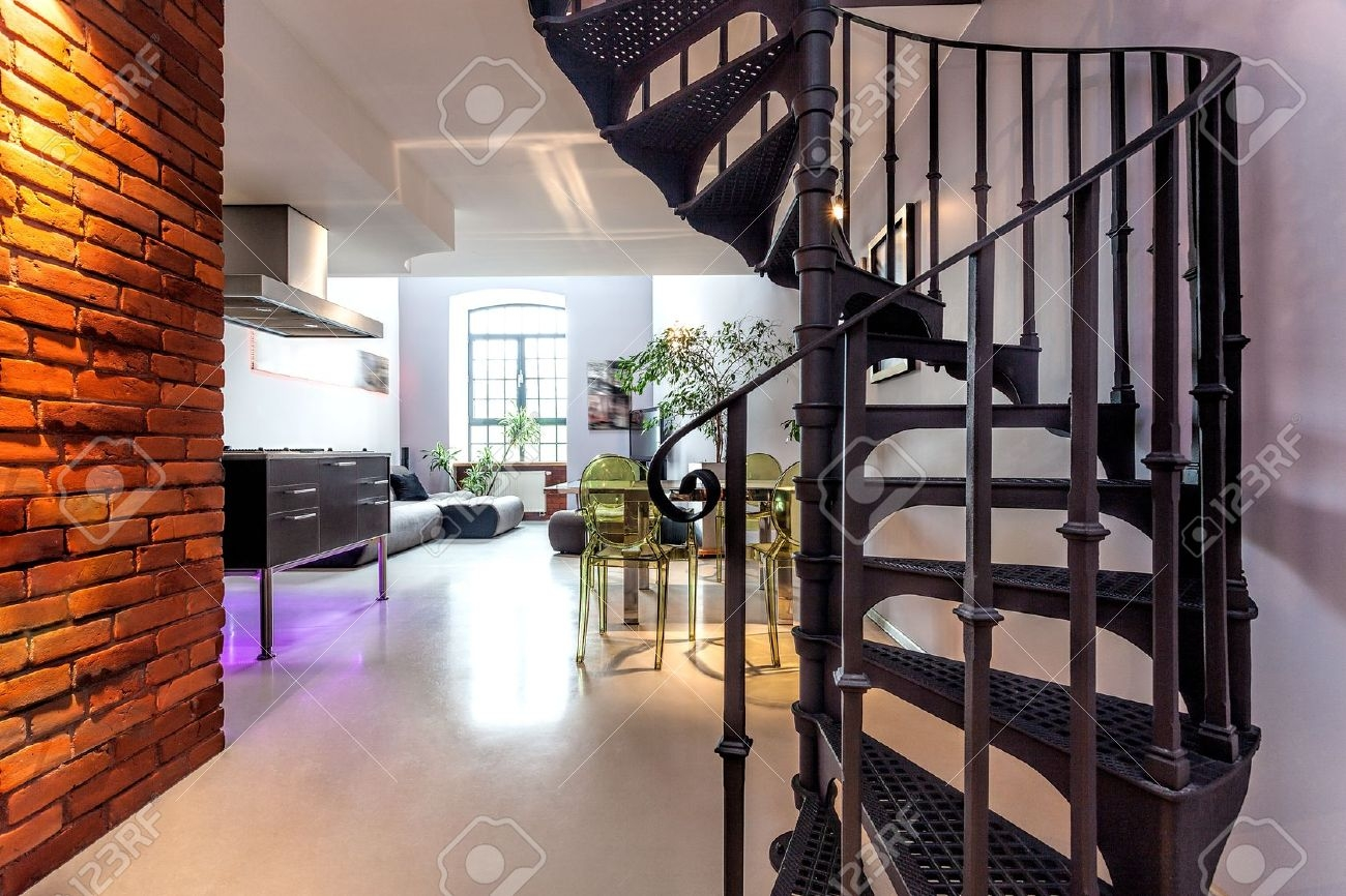 Spiral Stairs And Living Room In Modern Loft Stock Photo Picture   Loft With Spiral Staircase   Small   Contemporary   Addition   Timber   New