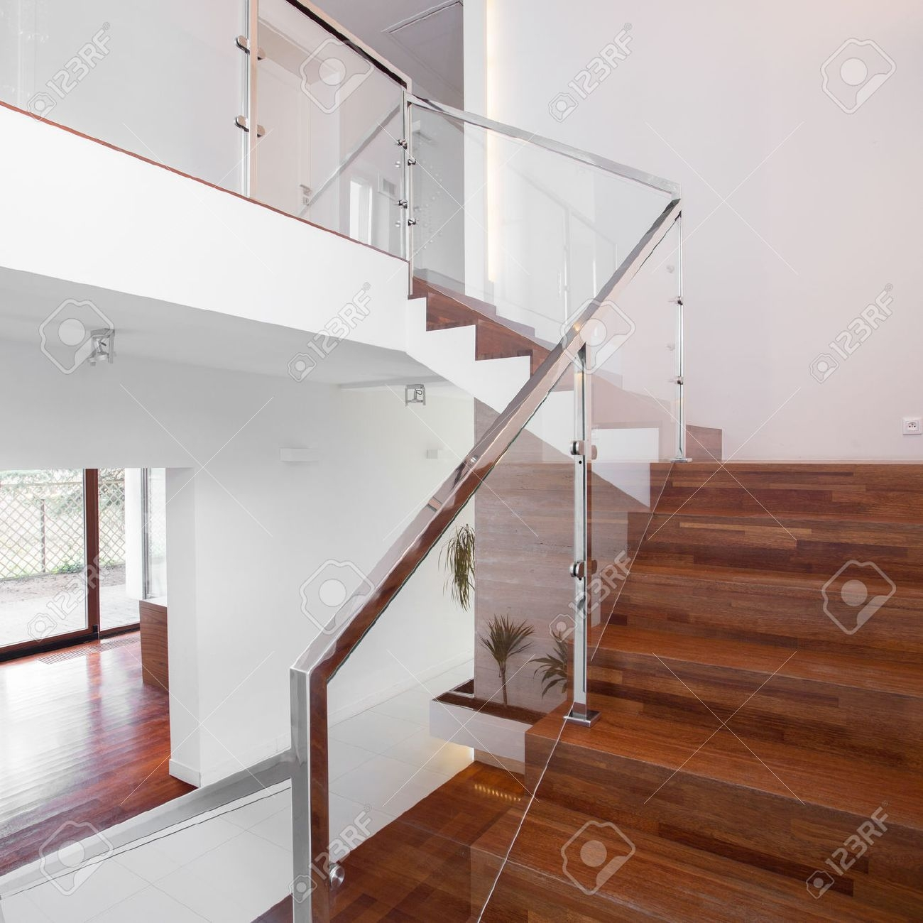 Image Of Solid Wooden Stairs With Elegant Glass Balustrade Stock   Glass Handrails For Stairs   Balustrading   Custom Glass   External   Frameless   Fully Glass