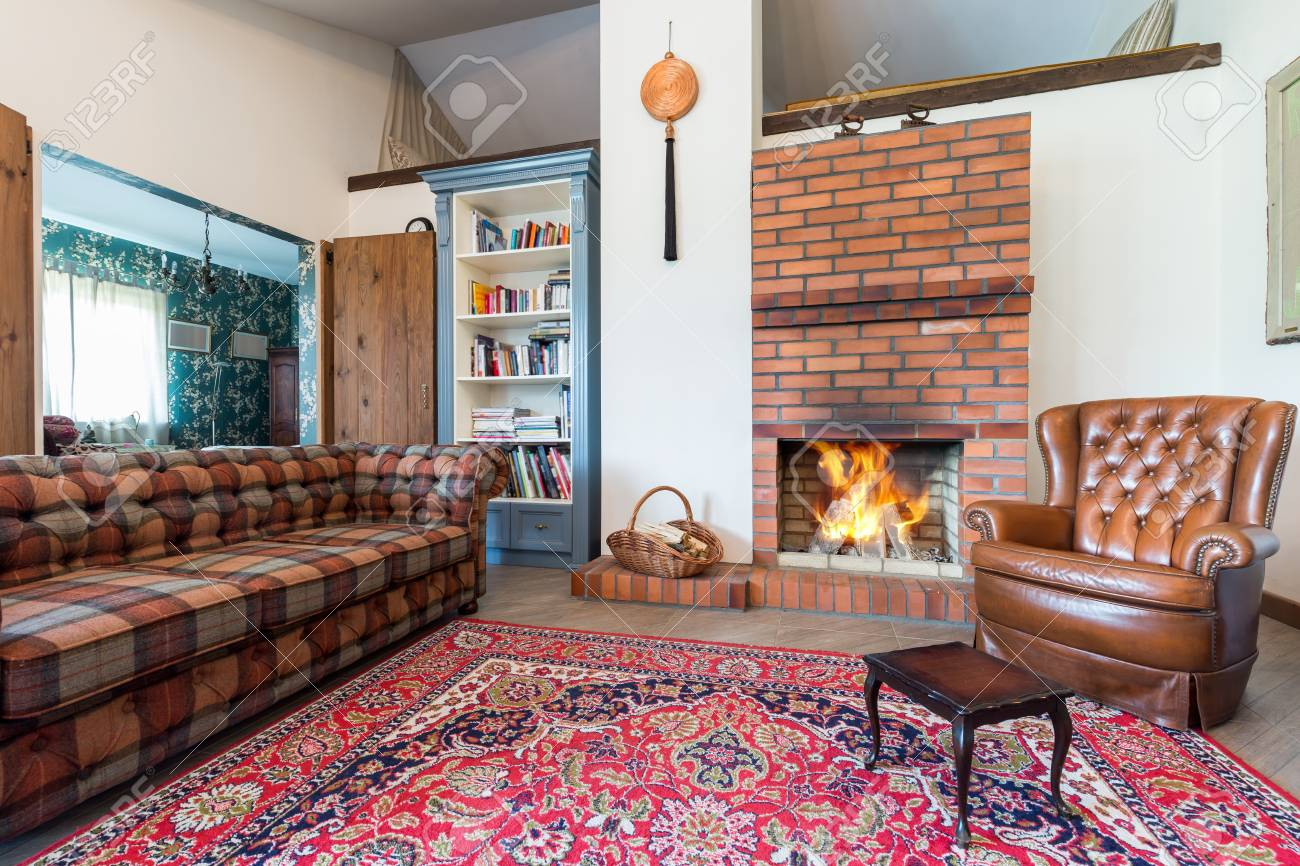 Elegant Rustic Living Room With A Large Carpet Sofa Leather