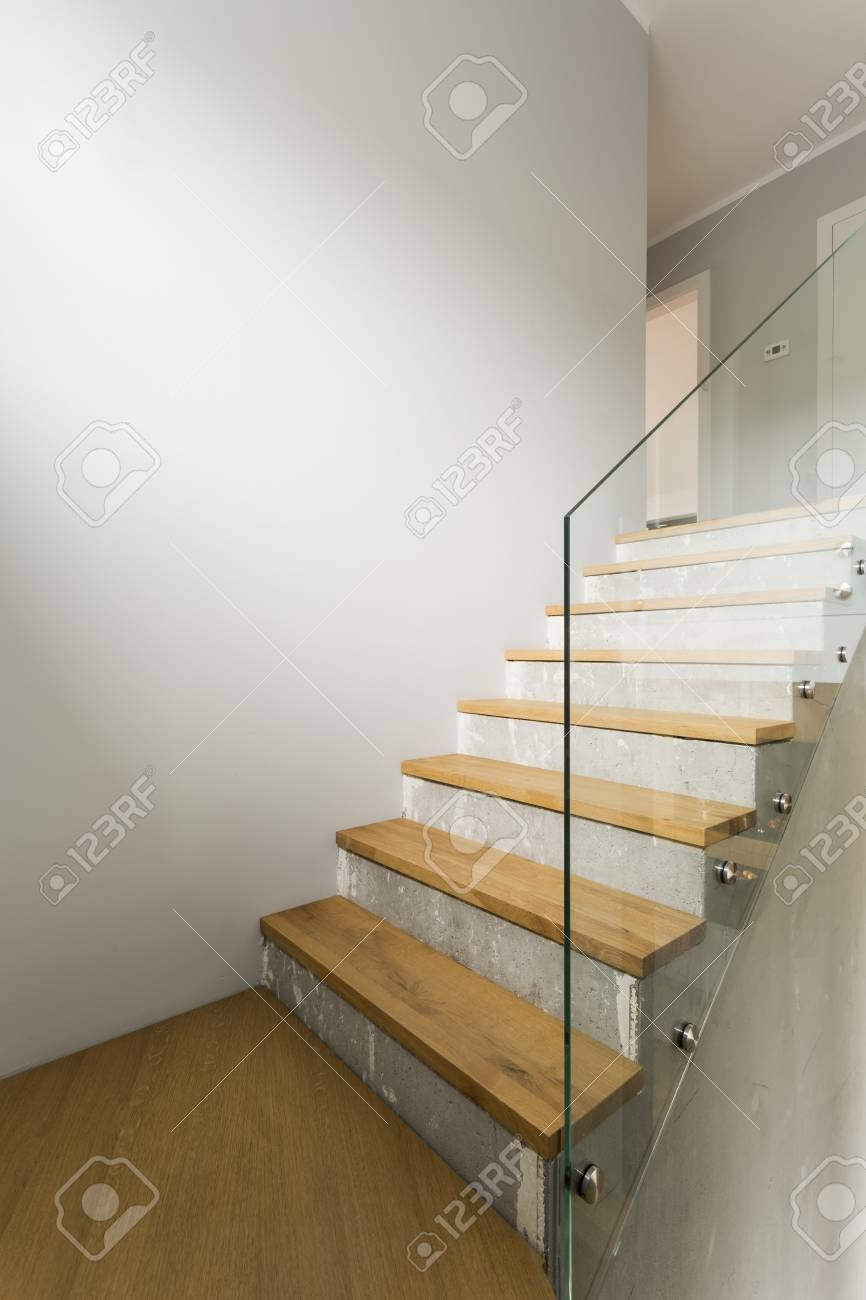 Concrete And Wooden Stairs With Glass Balustrade In Modern | Wood And Glass Staircase | Stair Case | Simple | Spiral | Small | Light Oak Glass