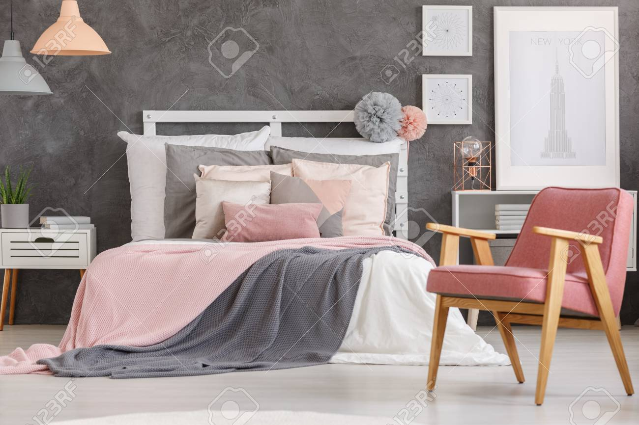 Pink Quilt On King Size Bed And Powder Pink Chair In Lovely Girls Stock Photo Picture And Royalty Free Image Image 89249962