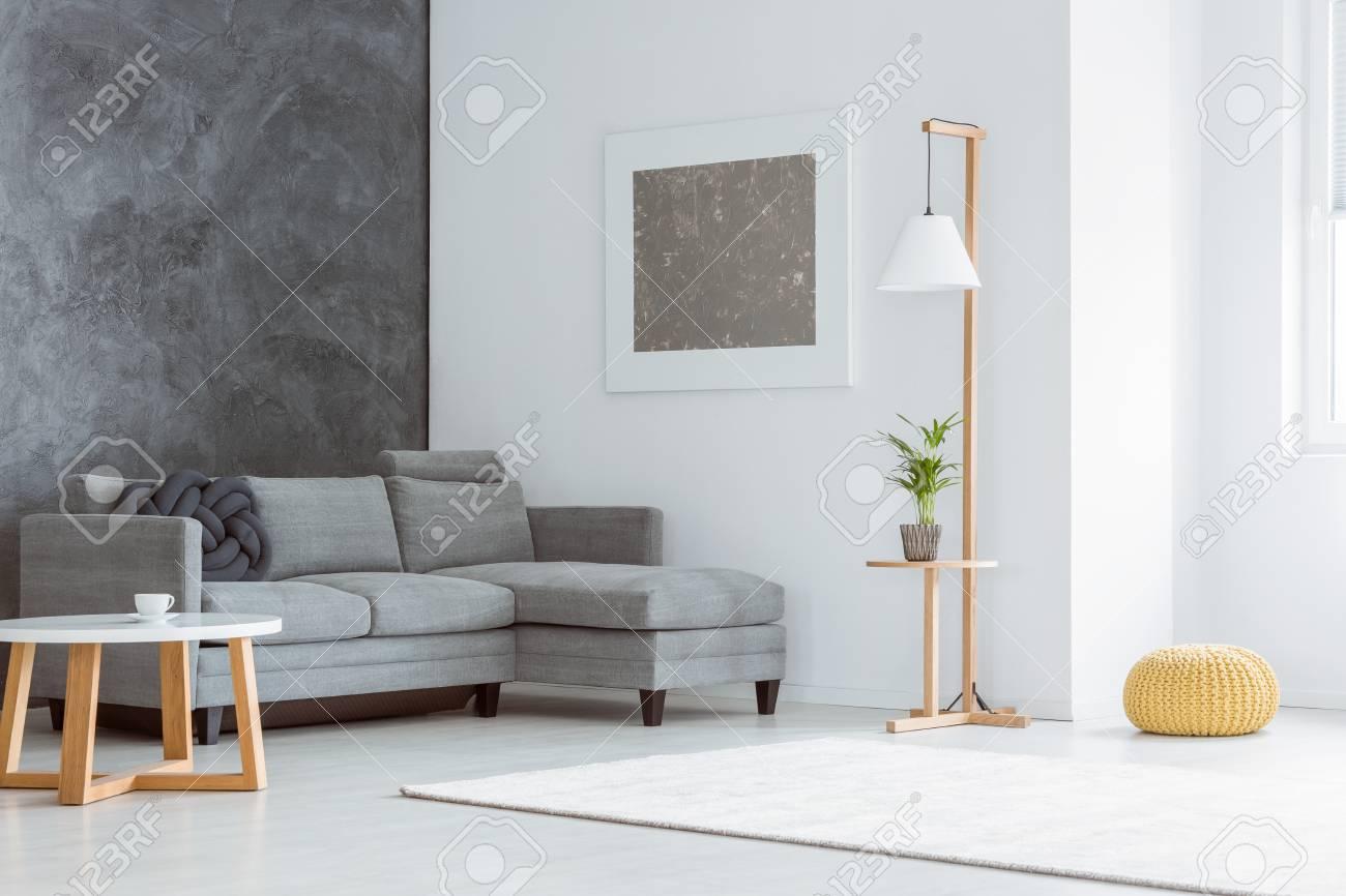 angle lateral du salon minimaliste blanc avec des accents gris peinture canape lampe scandinave table basse et fenetre banque d images et photos libres de droits image 88820742