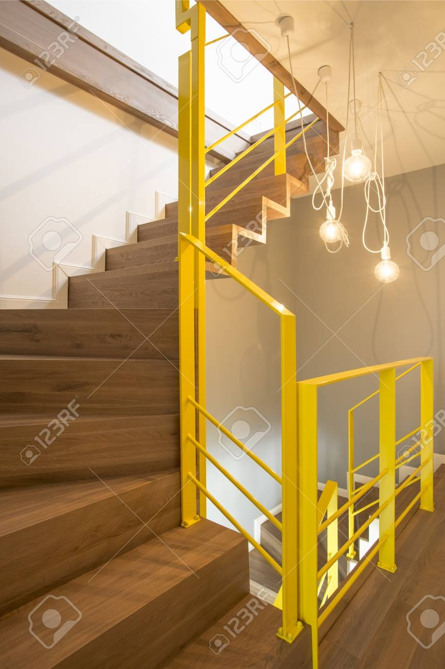 Lights In Cozy Loft Interior With Yellow Railings Of Wooden Stairs   Wooden Stairs With Lights   Light Gray   Motion Sensor   Side   Glass   Backyard Wood