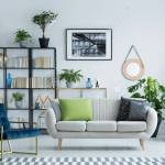 Grey Couch With Decorative Pillows Standing In A Bright Living Stock Photo Picture And Royalty Free Image Image 98043713