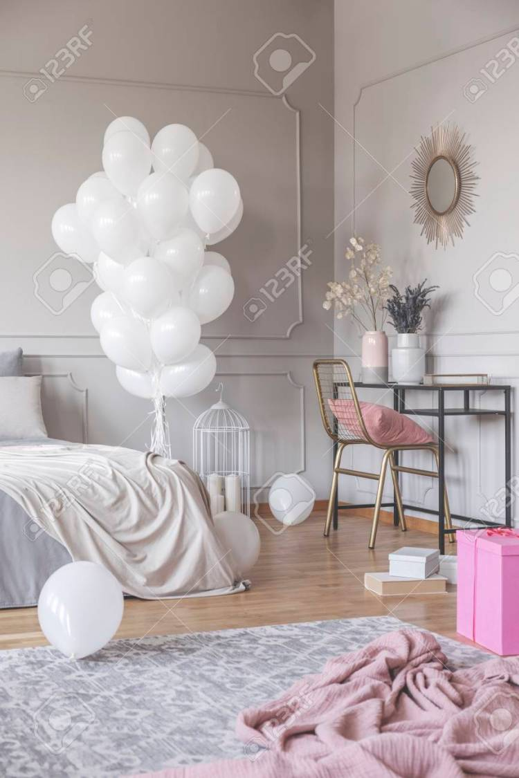 Vertical View Of Trendy Bedroom Design With Bunch Of White Balloons Stock Photo Picture And Royalty Free Image Image 112394846