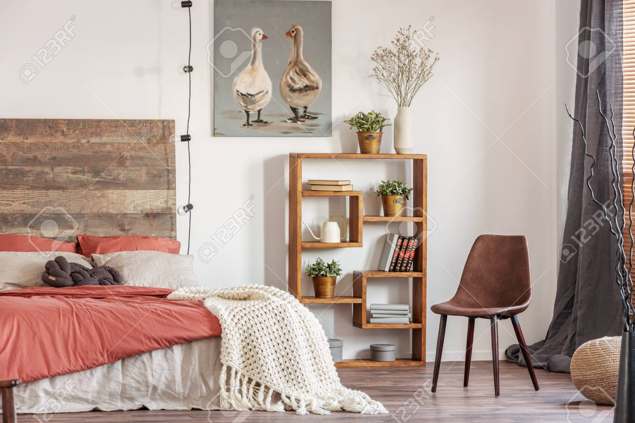 Beautiful Bedroom Interior With King Size Bed Wooden Headboard Stock Photo Picture And Royalty Free Image Image 119580544