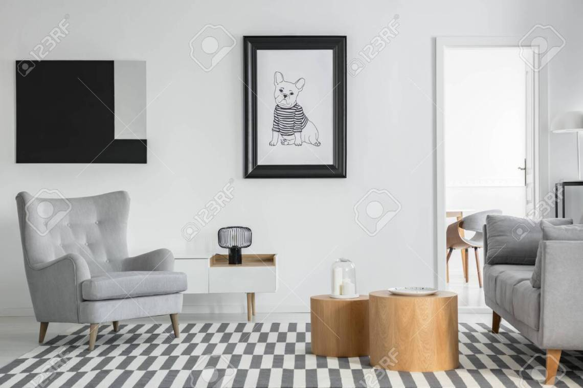 Comfortable Grey Armchair In Elegant Living Room Interior With Stock Photo Picture And Royalty Free Image Image 126997171