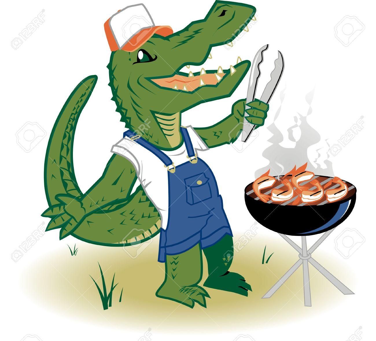 Image result for cartoon alligator grilling
