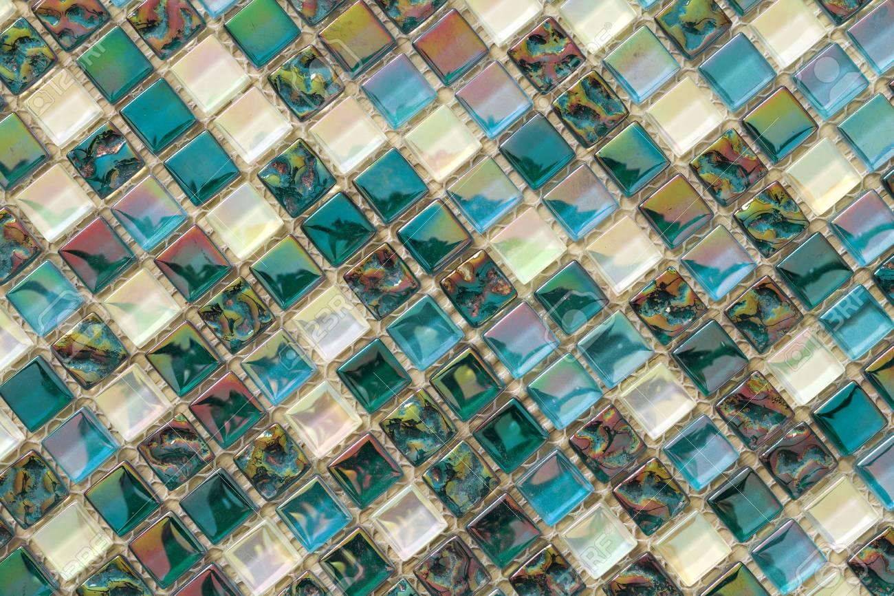 geometric blue purple and green mosaic tiles pattern wallpaper