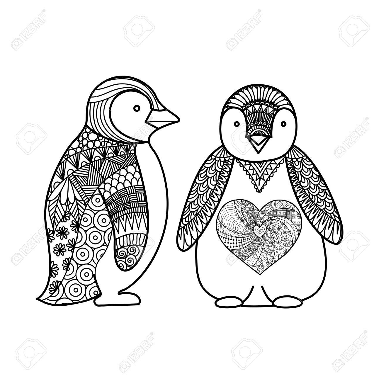 Two Penguins Line Art Design For Coloring Book For Adult T Royalty Free Cliparts Vectors And Stock Illustration Image 63513169