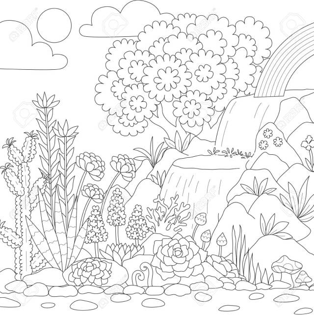 Line Art Of Waterfall With Beautiful Flowers For Coloring Book