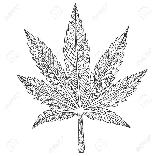 Line Art In Marijuana,cannabis Leaf Or Weed For Adult Coloring