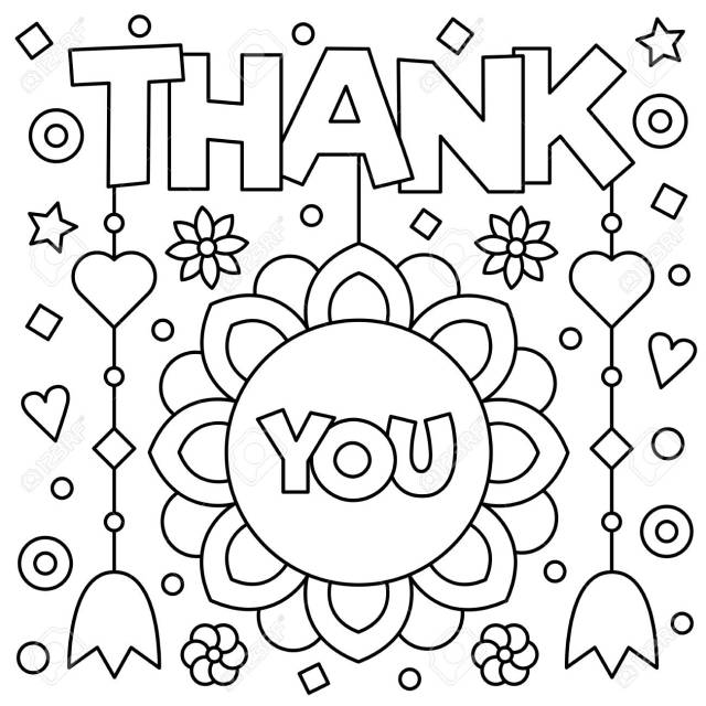Thank You. Coloring Page. Black And White Vector Illustration