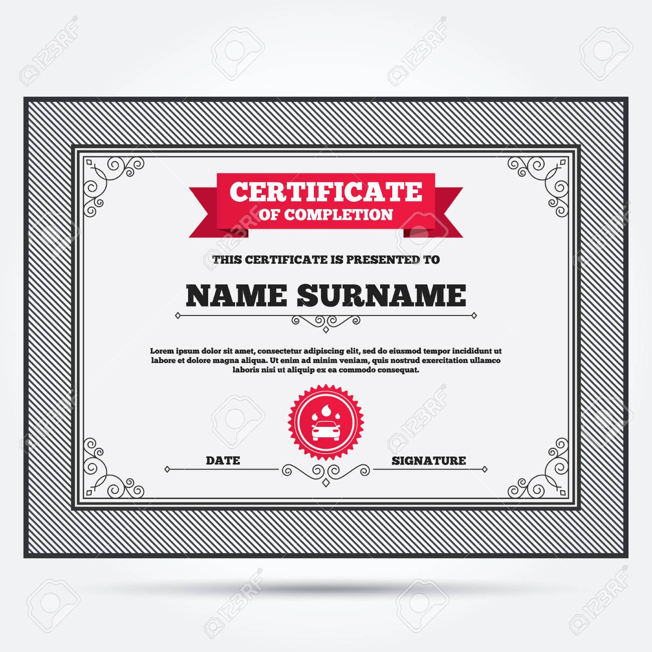 Certificate Of Completion Car Wash Icon Automated Teller Carwash