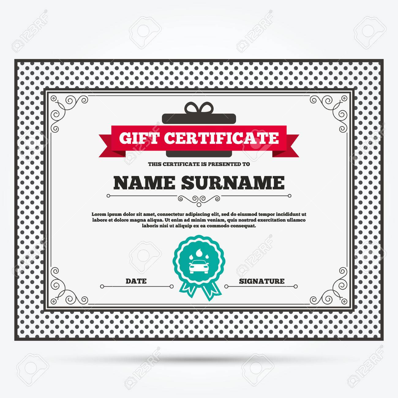Gift Certificate Car Wash Icon Automated Teller Carwash Symbol