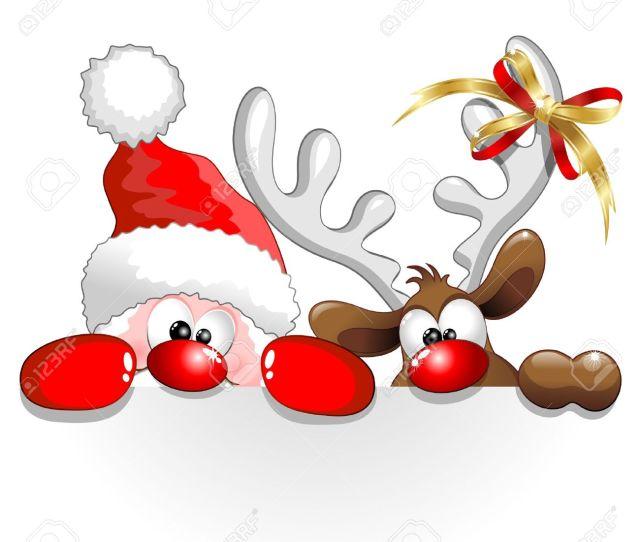 Funny Christmas Santa And Reindeer Cartoon Stock Vector