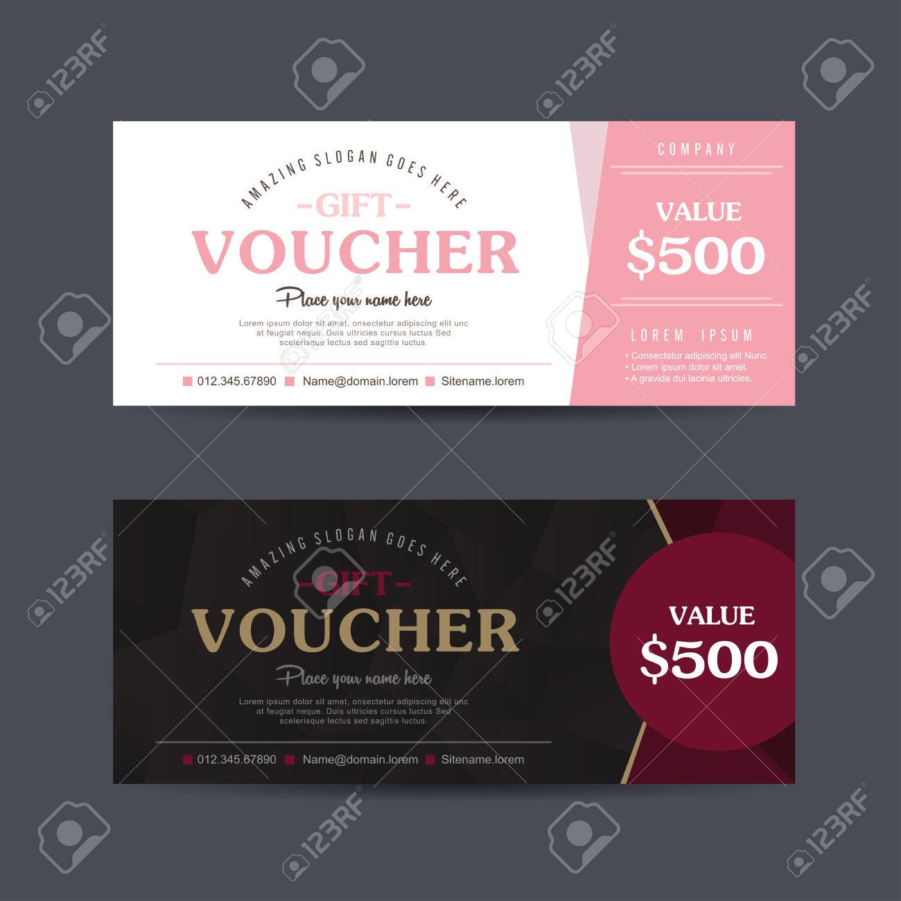 Gift Voucher Template With Colorful Pattern cute Gift Voucher     Gift voucher template with colorful pattern cute gift voucher certificate  coupon design template  Collection