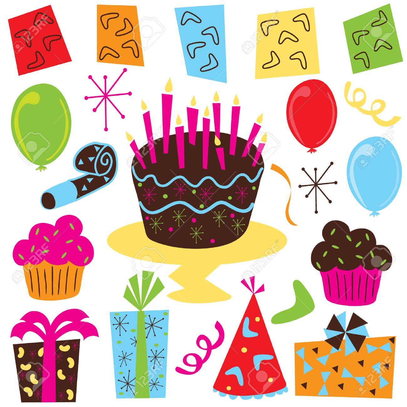 Retro Birthday Party Clipart With Birthday Cake Cupcakes Balloons Royalty Free Cliparts Vectors And Stock Illustration Image 4429715